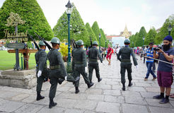 Kings Guards are marching in Bangkok Royalty Free Stock Image