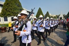 Kings Guards are marching in Grand Royal Palace in Bangkok, Thai Stock Image