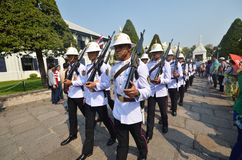 Kings Guards are marching in Grand Royal Palace in Bangkok, Thai Royalty Free Stock Photo