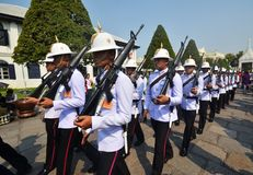 Kings Guards are marching in Grand Royal Palace in Bangkok, Thai Royalty Free Stock Images