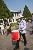 Kings Guards are marching in Grand Royal Palace in Bangkok Royalty Free Stock Images