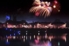 Kings Lynn fireworks finale over the river Ouse stock photo