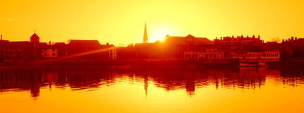 Dawn Kings Lynn. Kings Lynn looking back from West Lynn over the Great Ouse Stock Photography