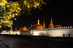 Kings palace from outside in Thailand at night stock photo