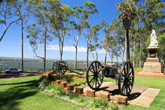 The Kings Park,Perth,Western Australia. Twin Cannons.View from Kings Park, Perth cityscape as background.Western Australia Royalty Free Stock Images