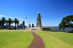Kings Park,Perth,Western Australia. State War Monument at Kings Park, Perth, Western Australia. cityscape in the background Stock Images