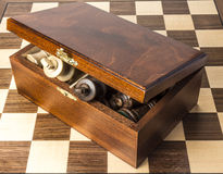 Kings protruding from chess storage box. Stock Image