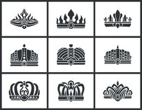 Kings and Queens Monochrome Crowns Icon Collection. Kings and queens monochrome crowns set inlaid with gems. Colorless heraldic crowns of standard and unusual stock illustration