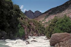 Kings River Rapids. River, canyon and mountain crags in Kings Canyon National Park Stock Image
