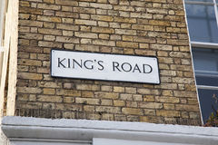 Kings Road Street Sign; Chelsea; London Royalty Free Stock Images