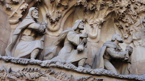 The kings - Sagrada Familia. The Kings, at the Nativity Facade section of the exterior of Sagrada Familia, located in Barcelona, Spain. Cathedral designed by Royalty Free Stock Photos