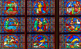 Kings Saints Stained Glass Notre Dame Cathedral Paris France Royalty Free Stock Photography