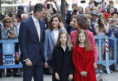 The Kings of Spain Felipe and Letizia and their daughters, in the traditional Easter Mass. Stock Photos