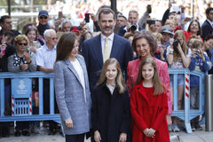The Kings of Spain Felipe and Letizia and their daughters, in the traditional Easter Mass. Stock Photo