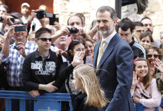 The Kings of Spain Felipe and Letizia and their daughters, in the traditional Easter Mass. Stock Photography