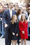 The Kings of Spain Felipe and Letizia and their daughters, in the traditional Easter Mass. Royalty Free Stock Images