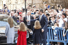 The Kings of Spain Felipe and Letizia and their daughters, in the traditional Easter Mass. Royalty Free Stock Image