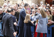 The Kings of Spain Felipe and Letizia and their daughters, in the traditional Easter Mass. Stock Image