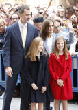 The Kings of Spain Felipe and Letizia and their daughters, in the traditional Easter Mass. Royalty Free Stock Photos