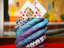 Kings on the spiral poker chips tower Royalty Free Stock Photos
