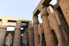 Kings statues at Luxor temple Stock Photo