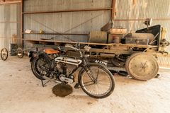 Historic Motorcycle In Static Display At The Pioneer Flight Museum royalty free stock image
