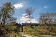 KINGSCOTE, SUSSEX/UK - 4月06日:在会开蓝色钟形花的草镭的蒸汽火车 库存图片