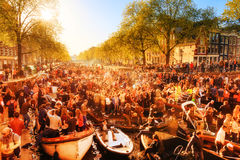 Kingsday Amsterdam Arkivbild
