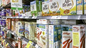 A variety of packaged breakfast cereals stock photos