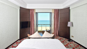 Kingsize bed room with sea view Royalty Free Stock Photography