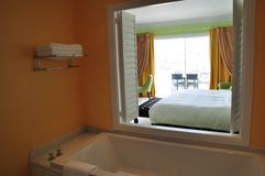 Ensuite room kingsize luxury hotel suite Stock Image