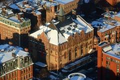 Kingsley Montessori School i vinter, Massachusetts, USA Arkivfoto