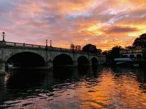Kingston bridge. In sunset, kingston upon thames stock photo
