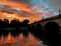 Kingston bridge. In sunset, kingston upon thames royalty free stock photos