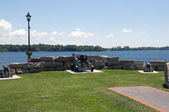 Kingston Canons overlooking the River Cataraqui. Kingston is a Canadian city located in Eastern Ontario where the St. Lawrence River flows out of Lake Ontario stock photography