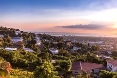 Kingston city hills in Jamaica sunset. With flowers royalty free stock photography