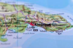 Kingston, Giamaica sulla mappa Fotografie Stock
