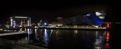 Kingston upon Hull Night landscape, river Hull, the deep Royalty Free Stock Photo