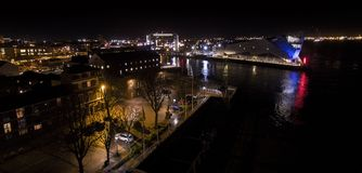 Kingston upon Hull Night landscape, river Hull, the deep Royalty Free Stock Photos