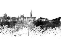 Kingston Upon Hull skyline in black watercolor Royalty Free Stock Photo