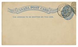 Kingston, Kanada - circa 1891: Gelöschte kanadische historische Postkarte mit blauem Text in der Vignette, prägte eine Cent-König stockfoto