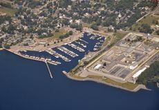 Kingston Penitentiary, aerial. Aerial view of the waterfront in Kingston, Ontario, Kingston Penitentiary and yacht club area royalty free stock image