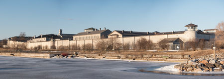 Kingston Penitentiary. A waterfront view of the now closed prison in Kingston, Ontario, Canada royalty free stock photos