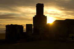 Kingston ruins at sunset. Ruins of the convict settlement at the world heritage listed area of Kingston on Norfolk Island off the coast of Australia stock photo
