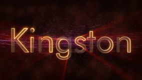 Kingston - shiny looping city name in Jamaica, text animation. Kingston - Jamaica city name text animation - Shiny rays looping on edge of text over a background stock illustration
