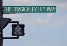 Kingston Street Sign Renamed zu Ehren des Bandes Lizenzfreies Stockfoto