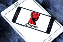 Kingston Technology Corporation logo. Logo of Kingston Technology Corporation on samsung mobile on samsung tablet. Kingston is an American multinational computer Royalty Free Stock Image