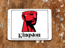 Kingston Technology Corporation logo. Logo of Kingston Technology Corporation on samsung tablet on wooden background. Kingston is an American multinational royalty free stock images