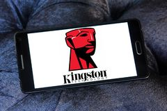 Kingston Technology Corporation logo. Logo of Kingston Technology Corporation on samsung mobile. Kingston is an American multinational computer technology royalty free stock image