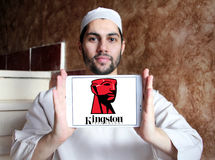 Kingston Technology Corporation logo. Logo of Kingston Technology Corporation on samsung tablet holded by arab muslim man. Kingston is an American multinational royalty free stock photo